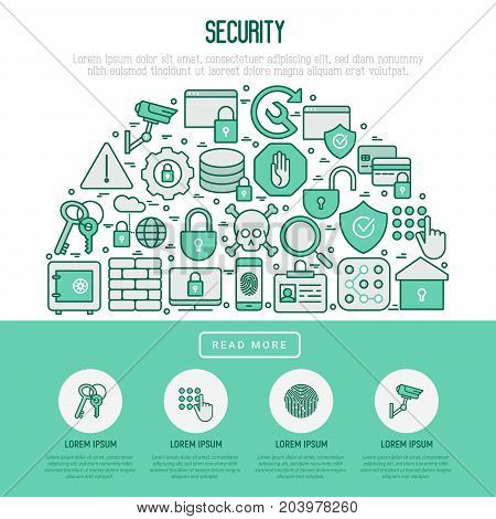 Security and protection in half circle concept with thin line icons: data, surveillance camera, finger print, electronic key, password, alarm, safe. Vector illustration for banner, web page, print media.