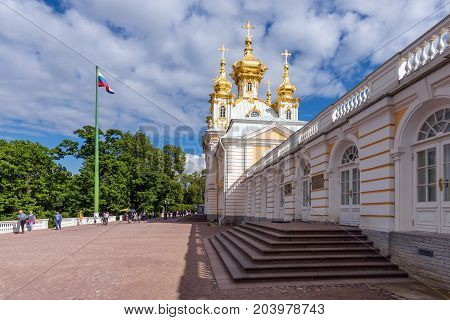 ST.PETERSBURG/RUSSIA - JULY 25, 2017.  Church of the Grand Palace of the State Museum-Reserve Petergof