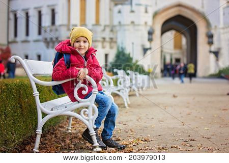 Cute Beautiful Child, Boy, Sitting On A Bench In Front Of Beautiful Renaissance Castle Hluboka
