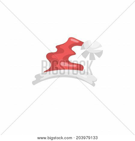 Cartoon style Santa Claus hat icon. Traditional xmas costume symbol. Vector simple gradient illustration.