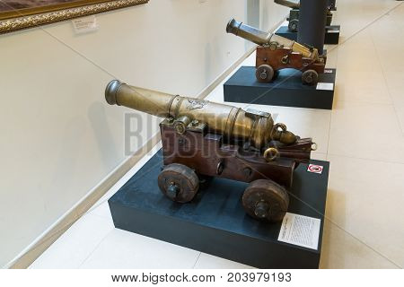 St. Petersburg, Russia - June 02. 2017. Ancient cannon in Naval Museum in the Kryukov Barracks