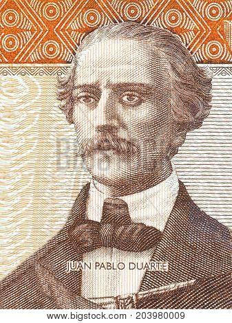 Juan Pablo Duarte portrait from Dominican money