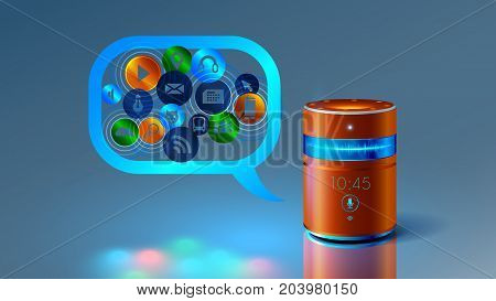 Smart speaker with voice control. Voice control of your smart house. Abstract future product. Smart speaker speaks with you and helps to obtain information. The Internet of things. VECTOR.