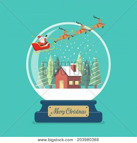 Merry christmas glass ball with Santa sleigh and winter house. Vector illustration