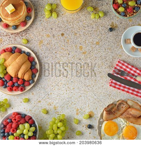 Various breakfasts on a brown background on a gray background