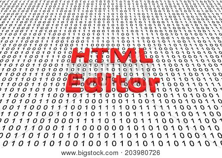 HTML editor in the form of binary code, 3D illustration