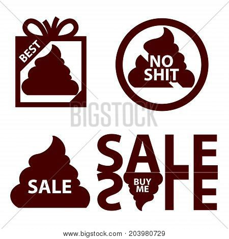 sales icon logo with shit. Lies deception marketing