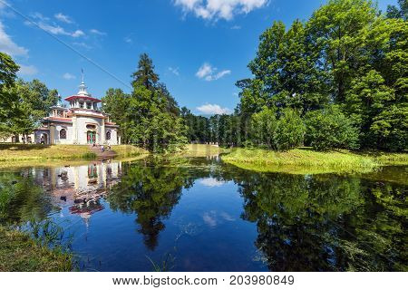 ST.PETERSBURG/RUSSIA - JULY 26, 2017.  The exotic pavilion, called the Skripuchy Chinese Gazebo, is located on the border of the landscape part of the Catherine Park in Tsarskoe Selo