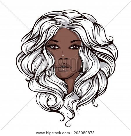 vector illustration of a beautiful face of a swarthy tanned girl with long blond hair