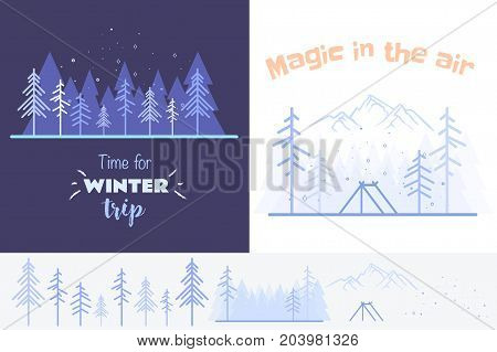 Collection of two outlined illustrations in blue colours. Outlined winter set may be used in mobile, web desig, also for print.