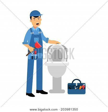 Proffesional plumber character repairing toilet with hand plunger, plumbing service vector Illustration on a white background