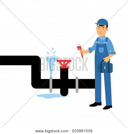 Proffesional plumber character with an adjustable wrench repairing plumbing vector Illustration on a white background