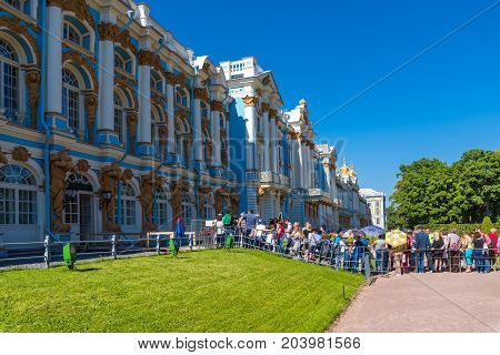 ST.PETERSBURG/RUSSIA - JULY 26, 2017.  A line from tourists wishing to get to the museum Catherine Palace in Tsarskoye Selo