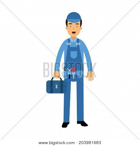 Proffesional plumber character in a blue overall standing with tool box, plumbing service vector Illustration on a white background