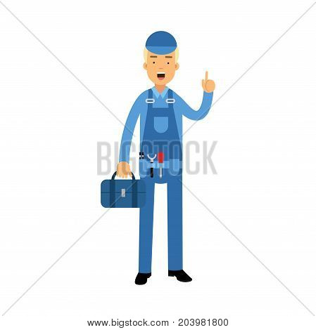 Proffesional plumber character in a blue overall standing with tool box anf showing hand gesture with a raised index finger, plumbing service vector Illustration on a white background