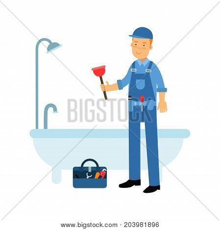 Proffesional plumber character cleaning drain in the bathtub using plunger, plumbing service vector Illustration on a white background