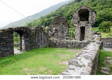 Ruins Of Serravalle Castle At Semione On Blenio Valley