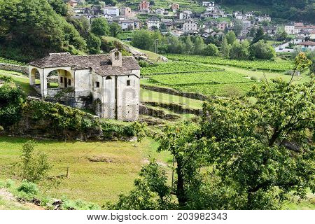 Old Church At Semione On Blenio Valley