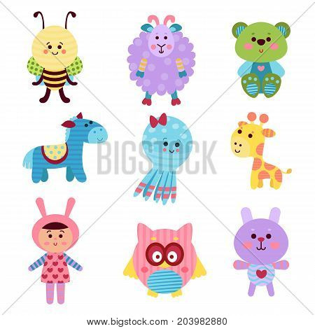 Cute cartoon baby toys and animals set of colorful vector Illustrations for baby clothes print, greeting and invitation cards, baby shower celebration