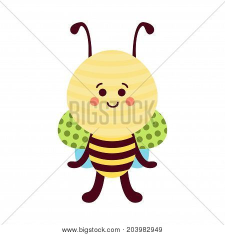 Cute cartoon bee baby toy, colorful vector Illustration for baby clothes print, greeting and invitation cards, baby shower celebration