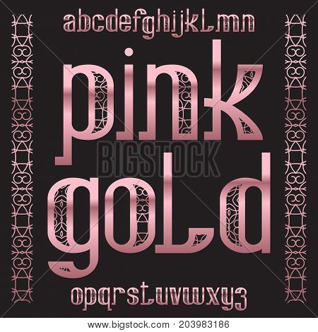Pink Gold typeface. Rose golden patterned font. Isolated ornate english alphabet.