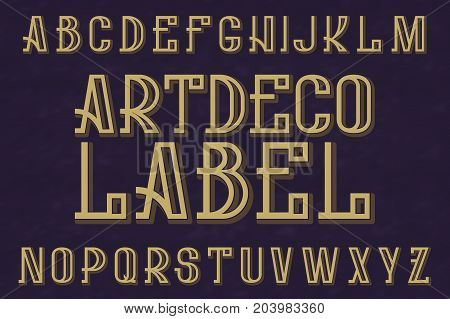 Artdeco Label typeface. Retro font. Isolated english alphabet.