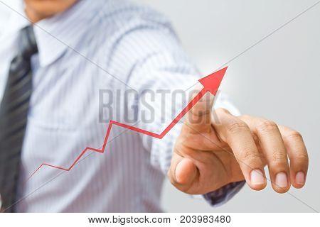 businessman present rising graph diagram , business growth