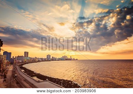 Cuba, Havana, Embankment Malecon, Fascinating Cloudscape, Skyline, Sunset