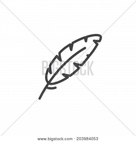 Feather, write line icon, outline vector sign, linear style pictogram isolated on white. Lightweight symbol, logo illustration. Editable stroke. Vector graphics