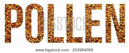 pollen grains text banner sample over white