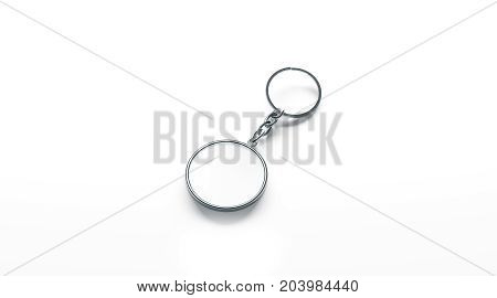 Blank metal round white key chain mock up side view 3d rendering. Clear silver circular keychain design mockup isolated. Empty plain keyring souvenir holder template. Steel circle trinket label