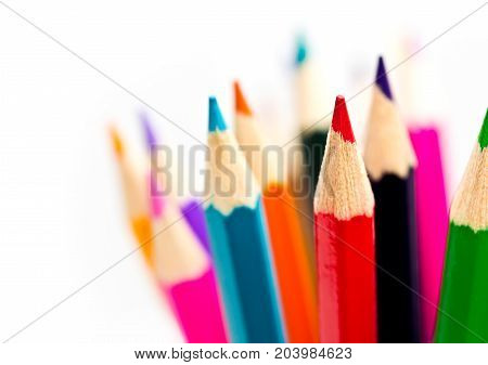 colored crayon pencil, stationary, art, on white background