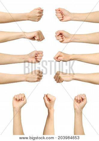 Multiple Female Caucasian Clenched Fist