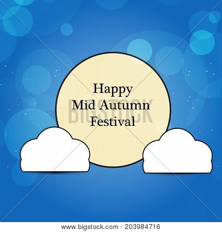 illustration of clouds and moon design with happy Mid Autumn Festival text on the occasion of harvest festival Mid Autumn celebrated in most East Asian Countries such as China and Vietnam.