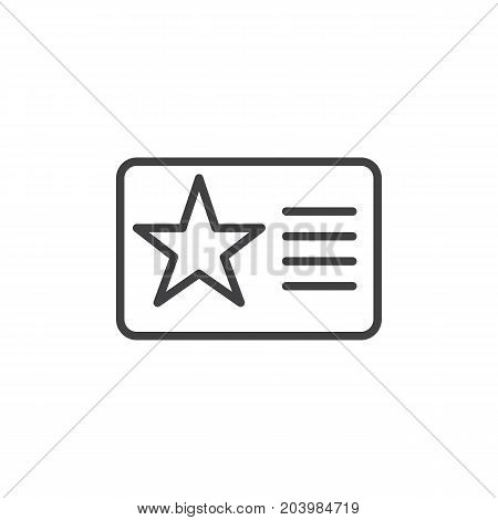 Membership card with star line icon, outline vector sign, linear style pictogram isolated on white. Symbol, logo illustration. Editable stroke. Pixel perfect vector graphics