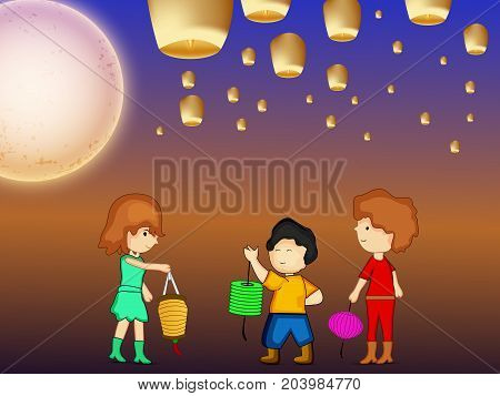 illustration of kids, lamps and moon on the occasion of harvest festival Mid Autumn celebrated in most East Asian Countries such as China and Vietnam.