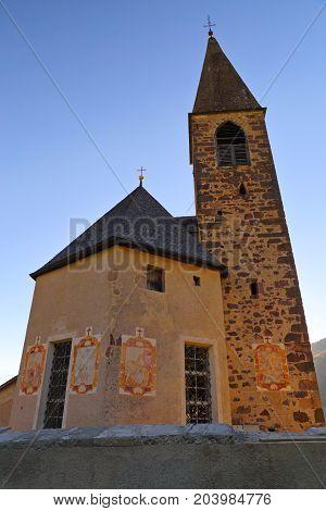 church in Santa Magdalena village in Val di Funes, Italy,