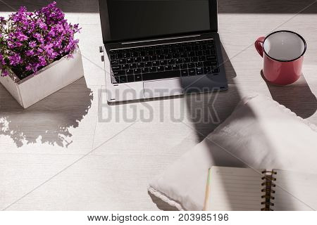 Modern blogger workplace. Creative designed place. Remote job, laptop with black screen mockup with free space, atmospheric sunny work