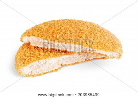 Fishcake burger isolated on white background. Delicious, Meal, Snack, Sea, Stack, Fried, Dinner, Lunch