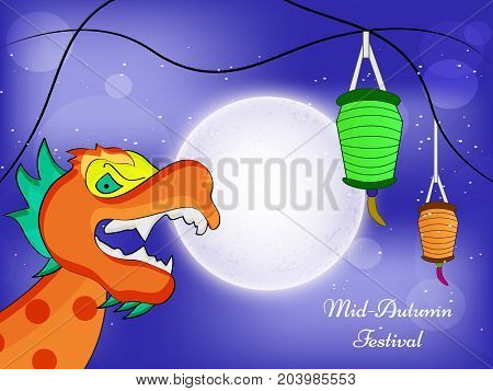 illustration of Dragon, lamps and moon with Mid Autumn Festival text on the occasion of harvest festival Mid Autumn celebrated in most East Asian Countries such as China and Vietnam.