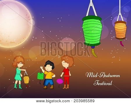 illustration of kids, lamps and moon with Mid Autumn Festival text on the occasion of harvest festival Mid Autumn celebrated in most East Asian Countries such as China and Vietnam.