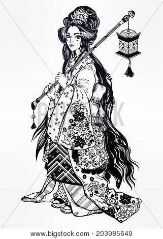 Beautiful geisha in ornate ethnic floral kimono costume, cute lantern. Geisha portret anime style. Japan. Asia. Asian beauty. China. Magic tattoo art, coloring books. Isolated vector illustration.