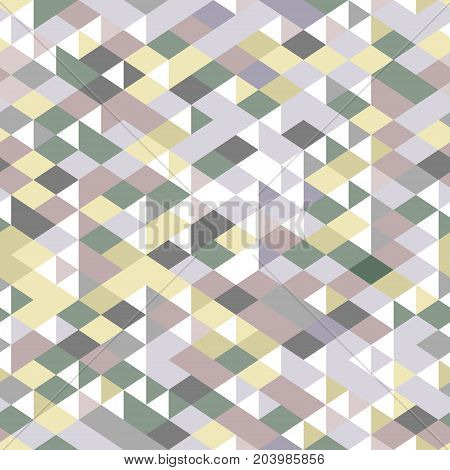 Neutral colored triangles geometric seamless pattern, vector background