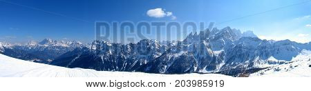 High mountains under snow in the winter Panorama landscape