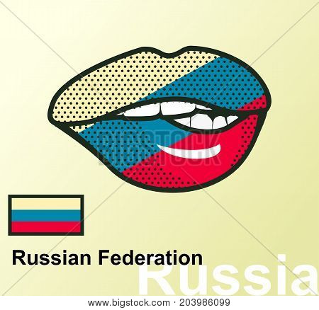Vector illustration of lip painted Russia flag isolated foreign language national symbols