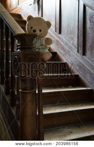Abandoned teddy bear in an abandoned house
