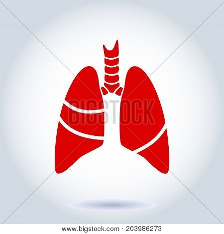 Vector silhouette medical illustration of human body organ - lungs with trachea. Logo template for clinic, hospital. Symbol for asthma, tuberculosis, pneumonia. Health care of respiratory system