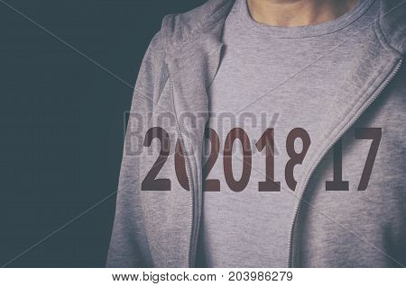 2018 print reveal on t-shirt. Active and healthy life concept.