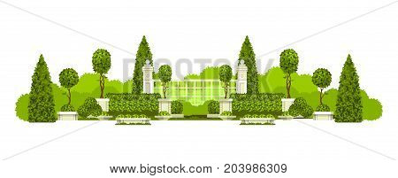 Vector illustration of a panoramic view of public praka with a hedge of topiary trees and a place to rest isolated on a white background