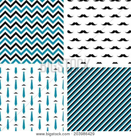 Set of vector seamless male patterns. Wrapping paper, wallpaper, fashion print design. Mustaches, neckties, chevron